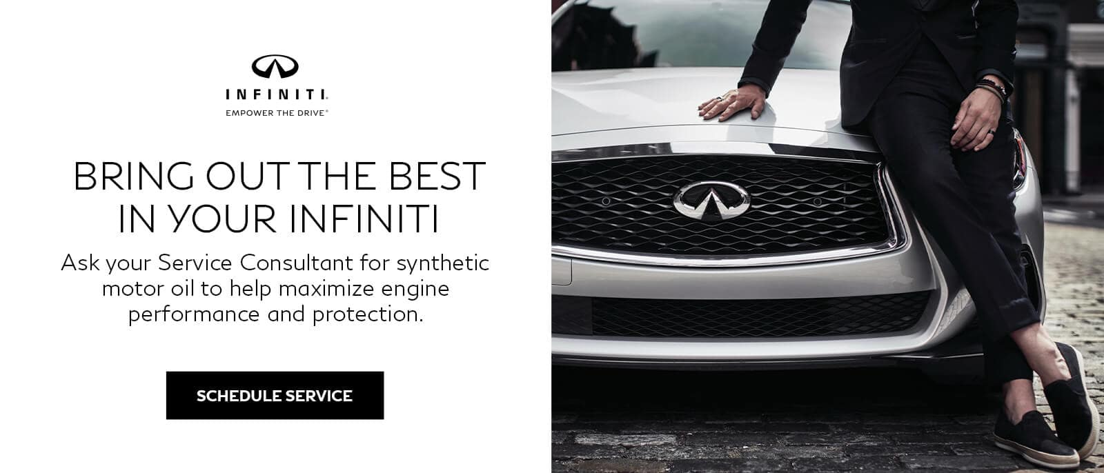 A person sitting on the hood of their INFINITI