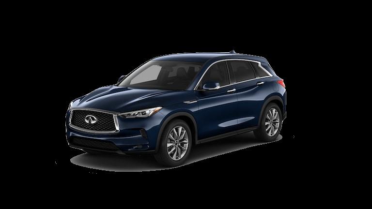 A blue 2020 INFINITI QX50 Pure