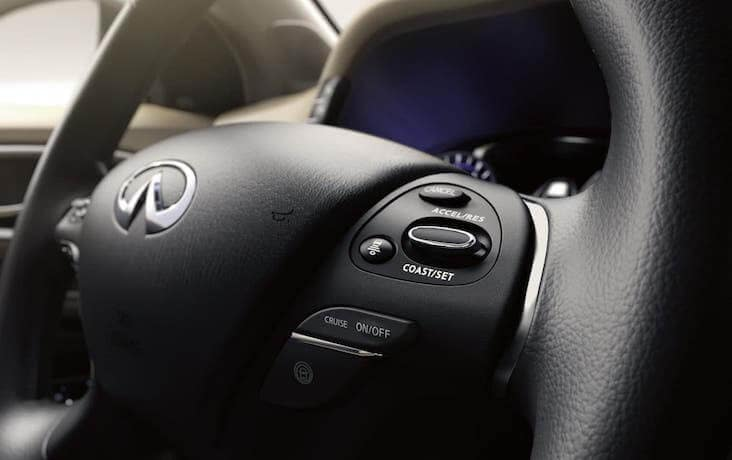 The steering whell of the 2020 INFINITI QX60