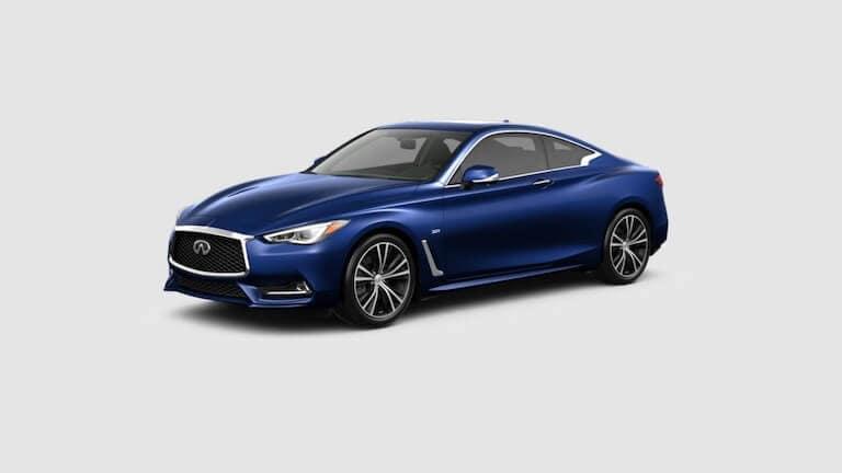 A blue 2020 INFINITI Q60 Luxe