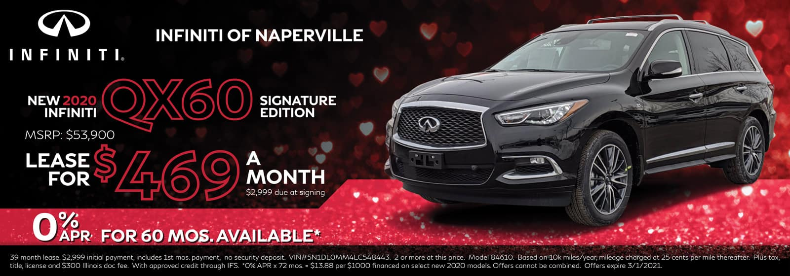 2020 INFINITI QX60 lease offer, $469/mo for 39 Months | Naperville, IL