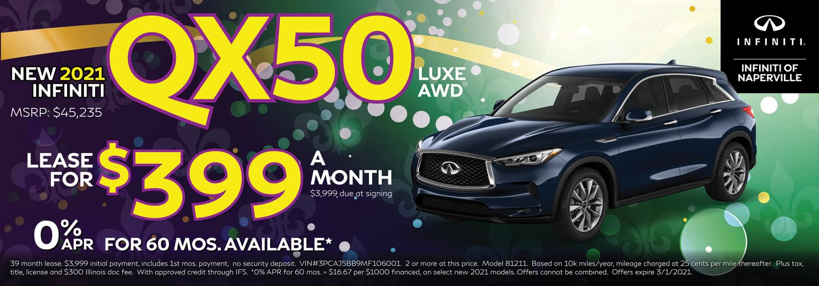2021 INFINITI QX50 lease offer, $399/mo for 39 Months | Naperville, IL
