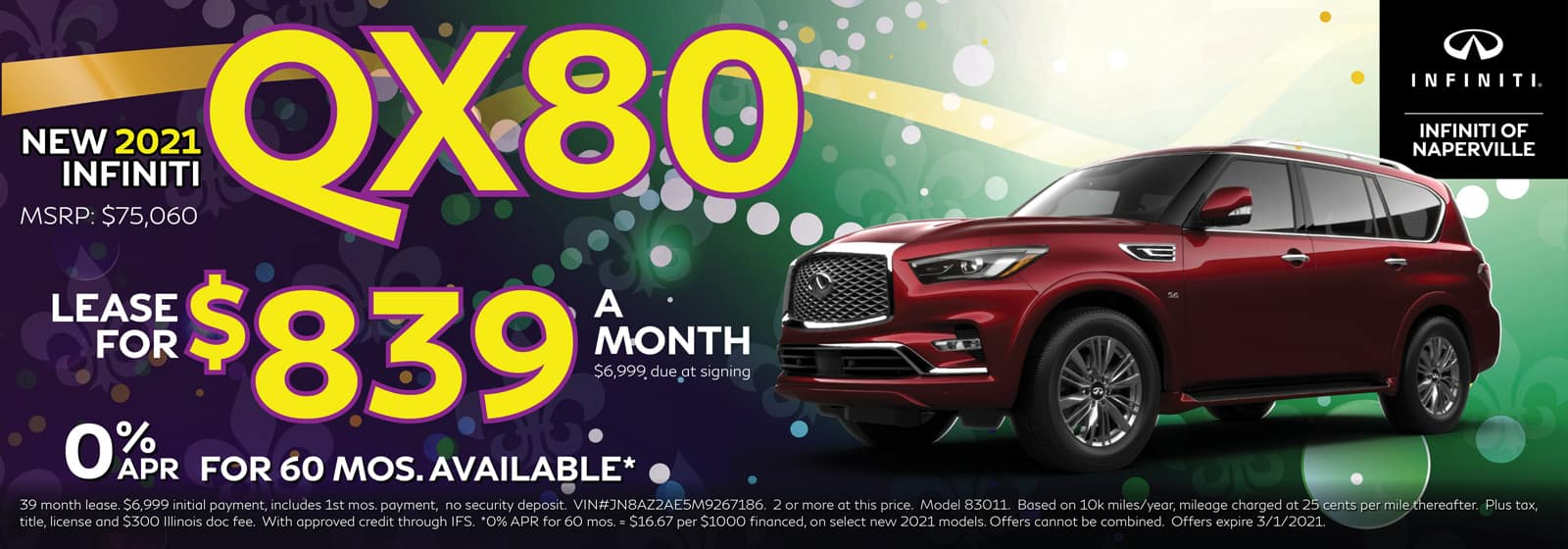 2021 INFINITI QX80 lease offer, $839/mo for 39 Months | Naperville, IL