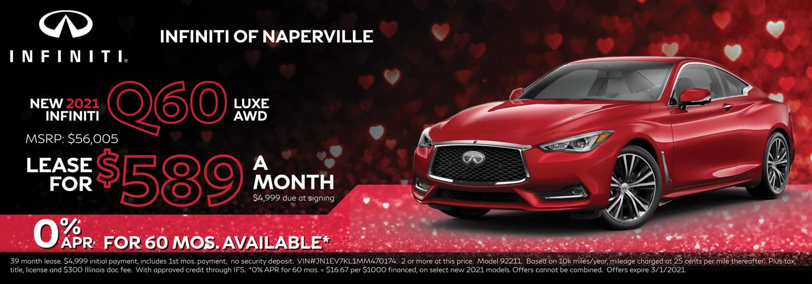 2021 INFINITI Q60 lease offer, $589/mo for 39 Months | Naperville, IL