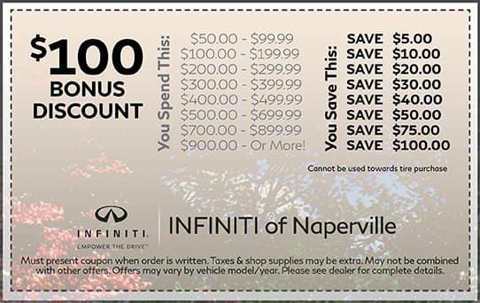 $100 Bonus Discount INFINITI of Naperville
