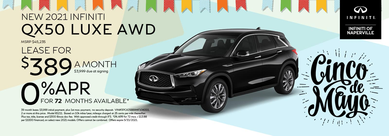 2021 INFINITI QX50 Lease or Finance Offer | INFINITI of Naperville