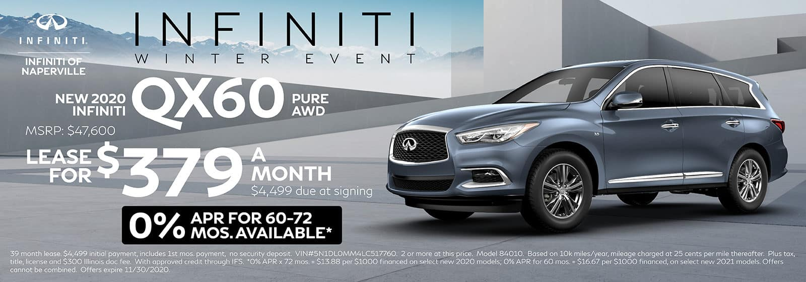 2020 INFINITI QX60 lease offer, $379/mo for 72 Months | Naperville, IL