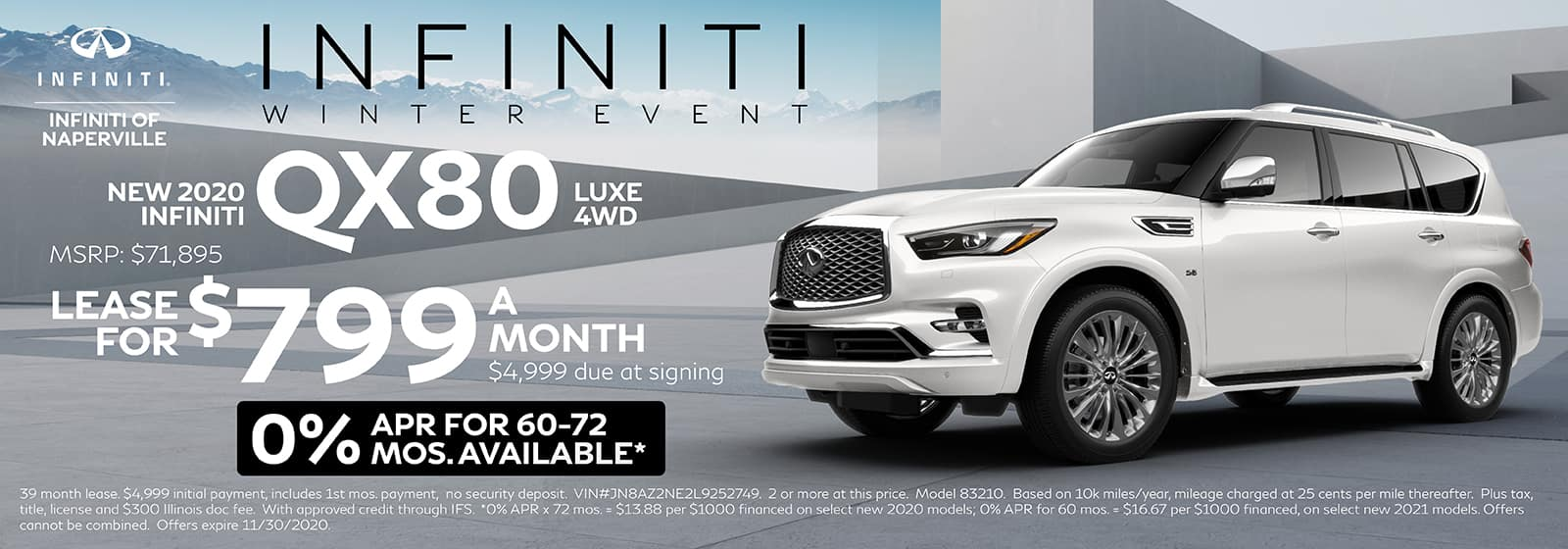 2020 INFINITI QX80 lease offer, $799/mo for 72 Months | Naperville, IL