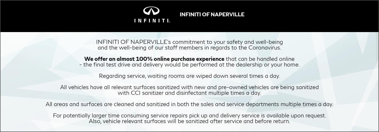 INFINITI of Naperville COVID 19 Precautions