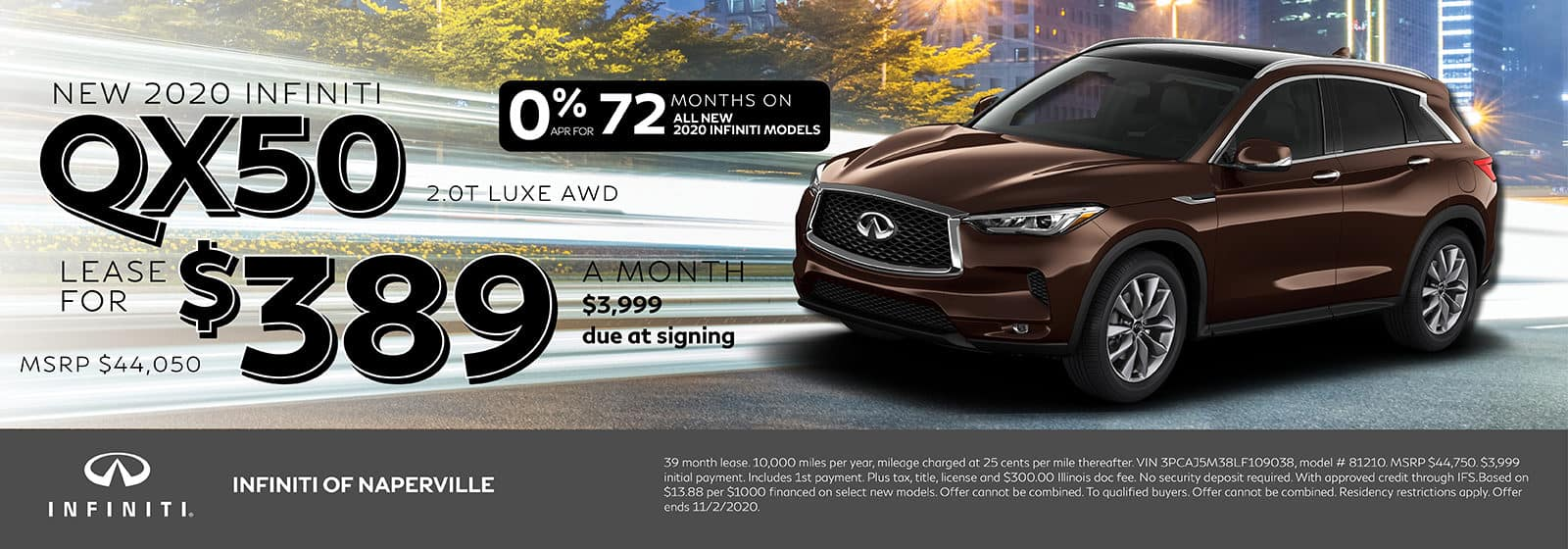 2020 INFINITI QX50 lease offer, $389/mo for 72 Months | Naperville, IL