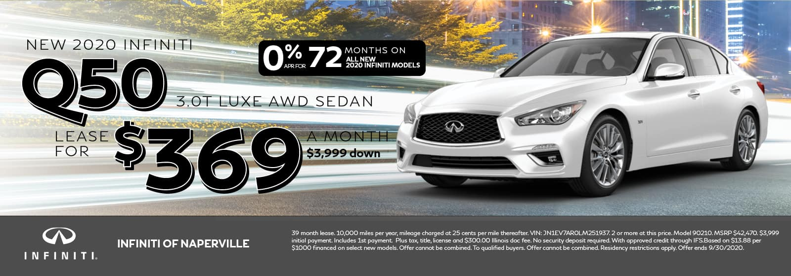2020 INFINITI Q50 lease offer, $369/mo for 72 Months | Naperville, IL