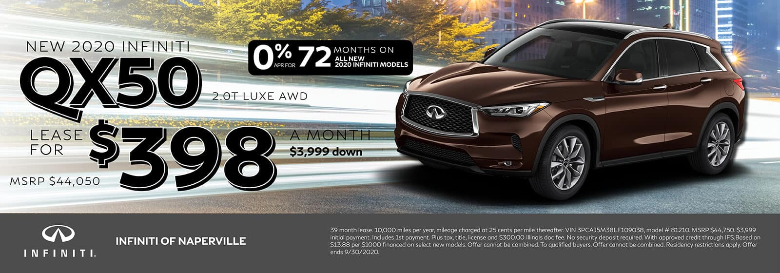 2020 INFINITI QX50 lease offer, $398/mo for 72 Months | Naperville, IL