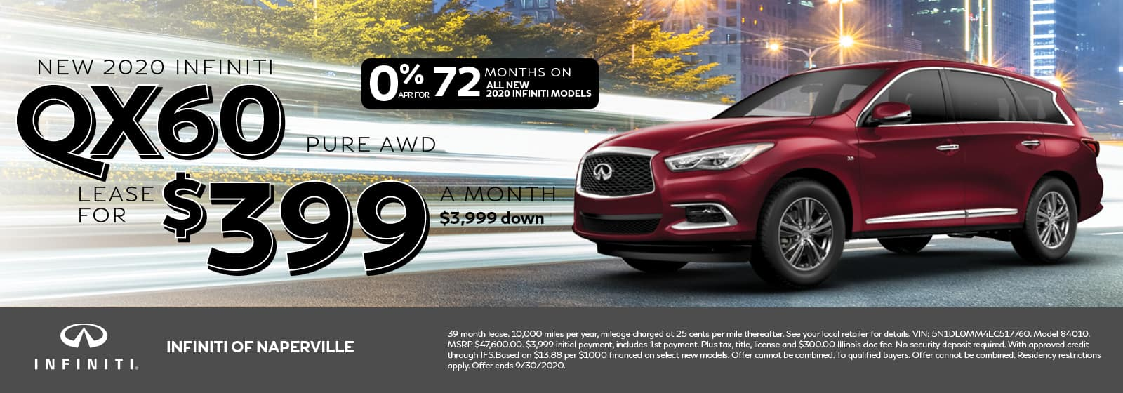 2020 INFINITI QX60 lease offer, $399/mo for 72 Months | Naperville, IL