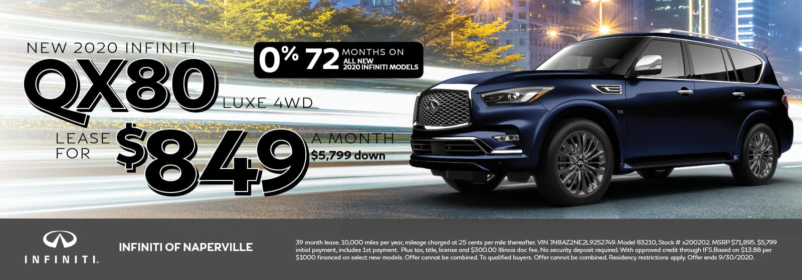 2020 INFINITI QX80 lease offer, $849/mo for 72 Months | Naperville, IL