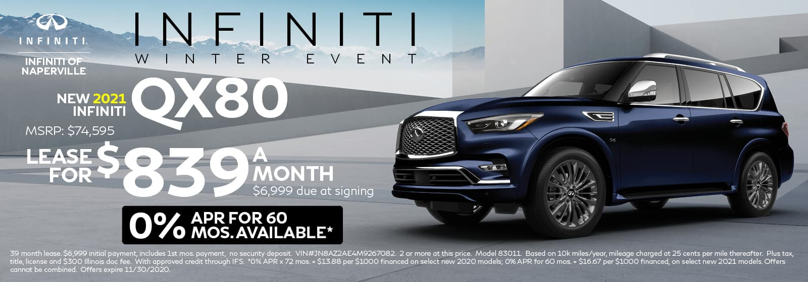 2021 INFINITI QX80 lease offer, $839/mo for 60 Months | Naperville, IL