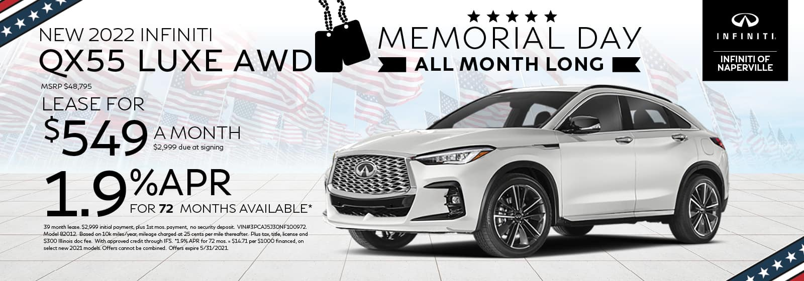 2022 INFINITI QX55 Lease or Finance Offer | INFINITI of Naperville