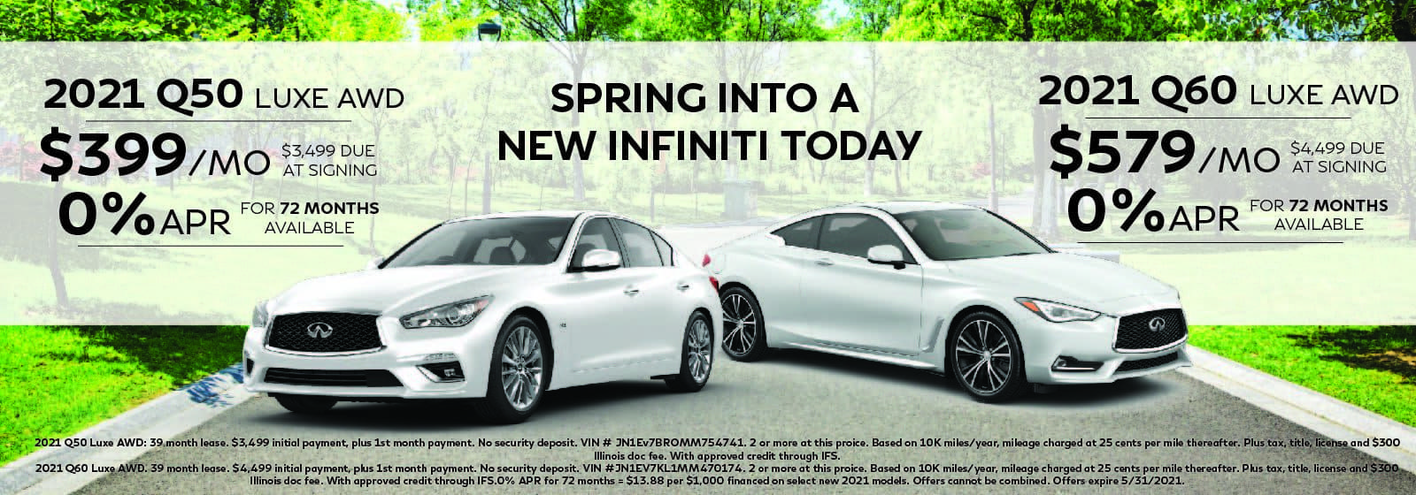 Q50 and Q60 vehicle lease offer