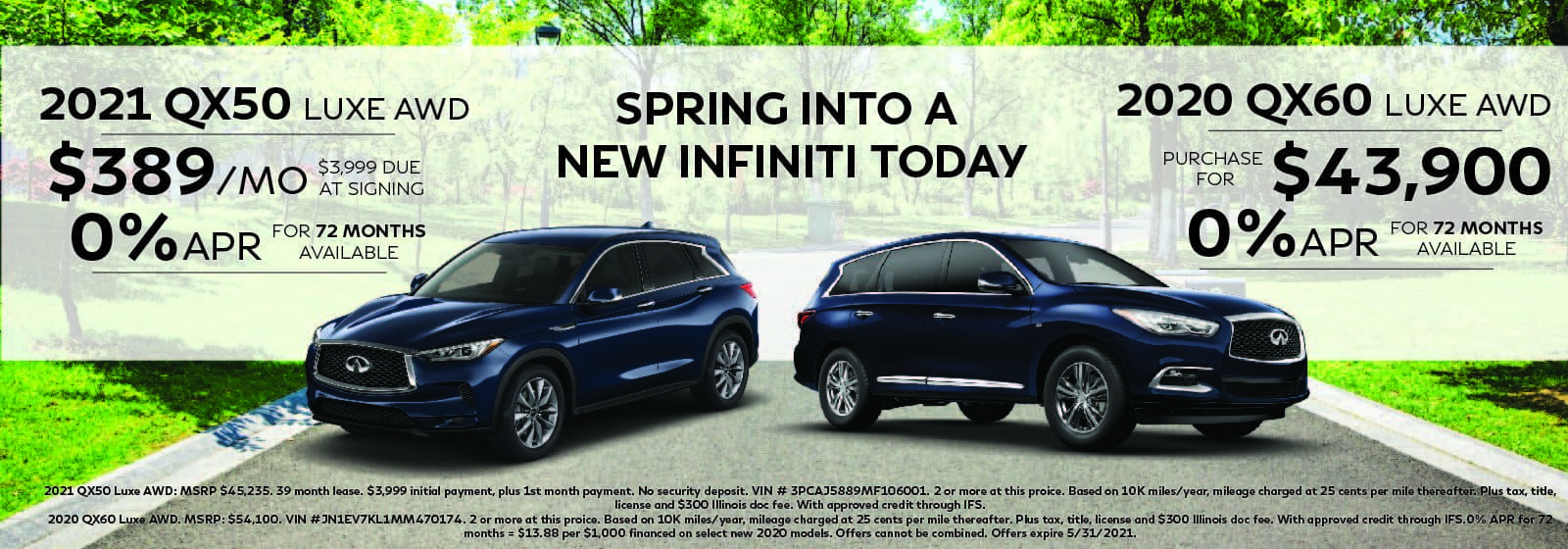 QX50 Lease offer and QX60 purchase offer