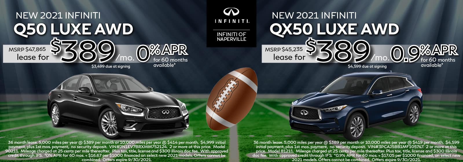 2021 INFINITI Q50 and QX50 Lease Offers | INFINITI of Naperville