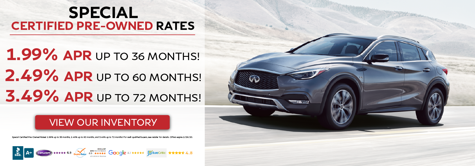 Special Certified Pre-Owned Rates - 1.99% APR up to 36 months OR 2.49% APR up to 60 months OR 3.49% APR up to 72 months - View Our Inventory!