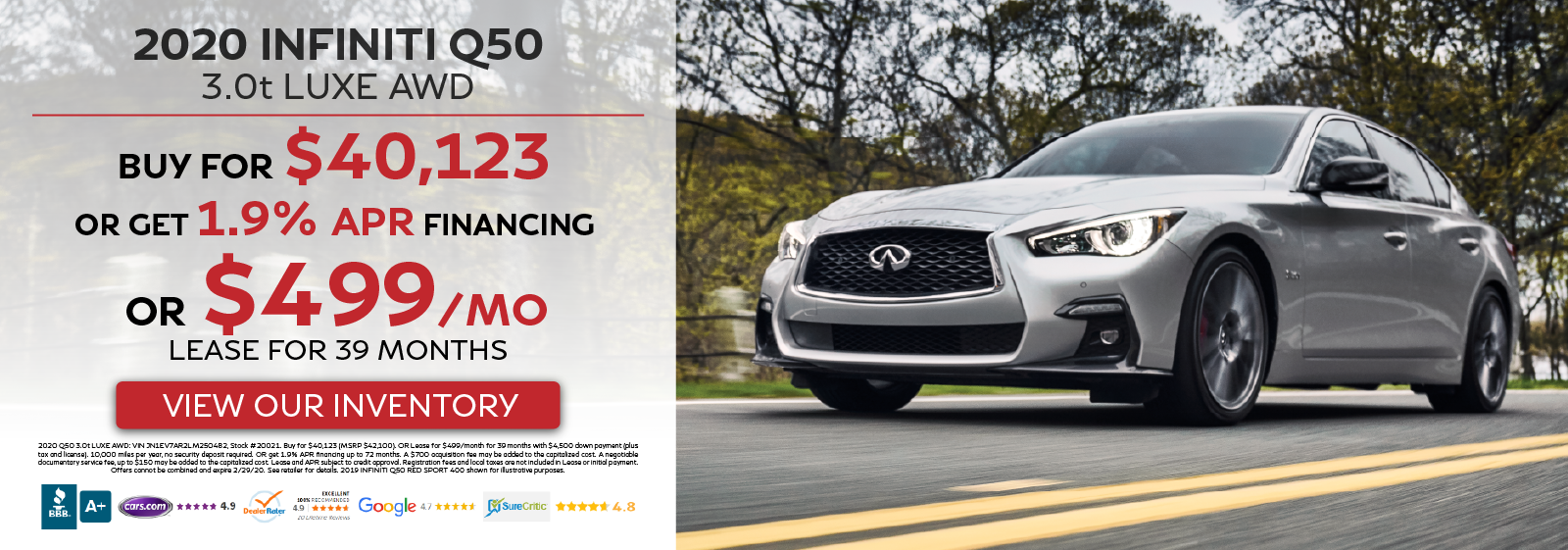 2020 Q50 3.0t LUXE AWD - Buy for $40,123 OR Get 1.9% APR Financing OR Lease for $499 per month for 39 months - View Our Inventory!