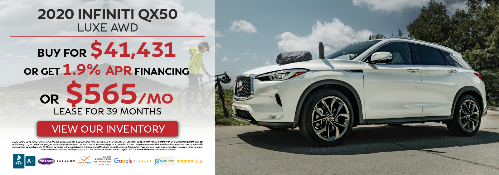 2020 QX50 LUXE AWD - Buy for $41,431 OR Get 1.9% APR Financing OR Lease for $565 per month for 39 months - View Our Inventory!