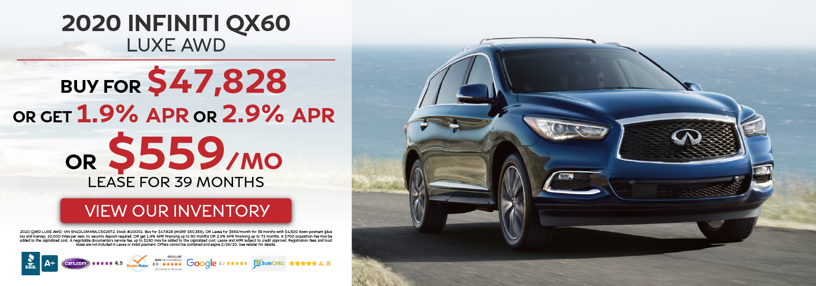 2020 QX60 LUXE AWD - Buy for $47,828 OR Get 1.9% OR 2.9% APR Financing OR Lease for $559 per month for 39 months - View Our Inventory!