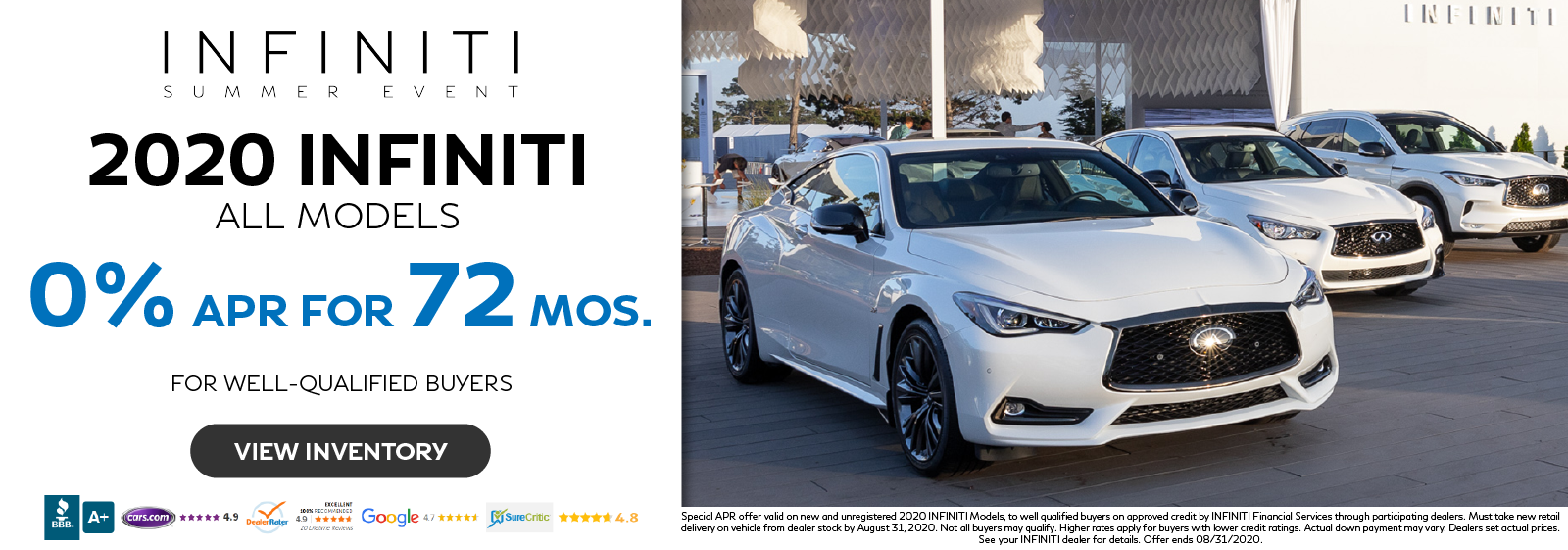 Get 0% APR for up to 72 months on all new 2020 INFINITI Models. Click to view inventory.
