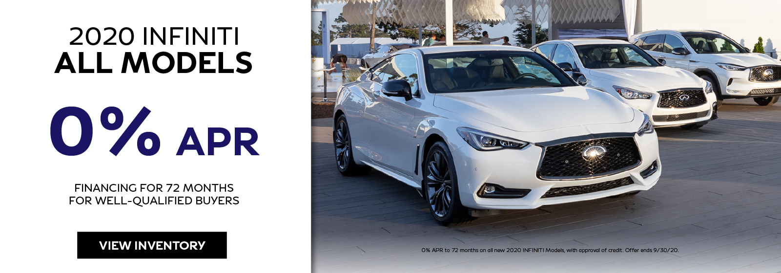 Well qualified buyers can get 0% APR financing on any new 2020 INFINITI. Click to view inventory.