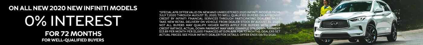 0% Interest for 72 months on all new 2020 New INFINITI models for well qualified buyers