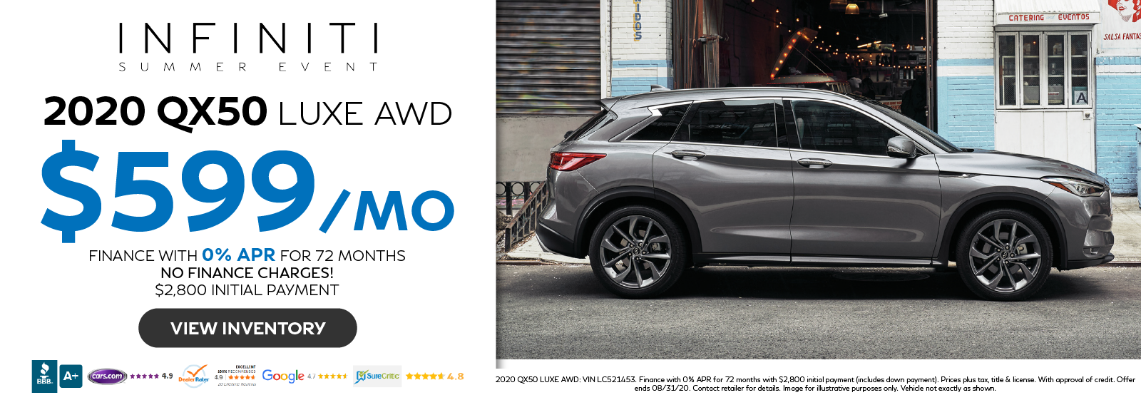 Finance the 2020 QX50 LUXE AWD for $599 per month with 0% APR for 72 months. Click to view inventory.