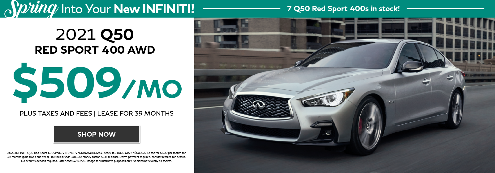 2021 INFINITI Q50 RED SPORT 400 AWD Lease offer. Click to shop now.