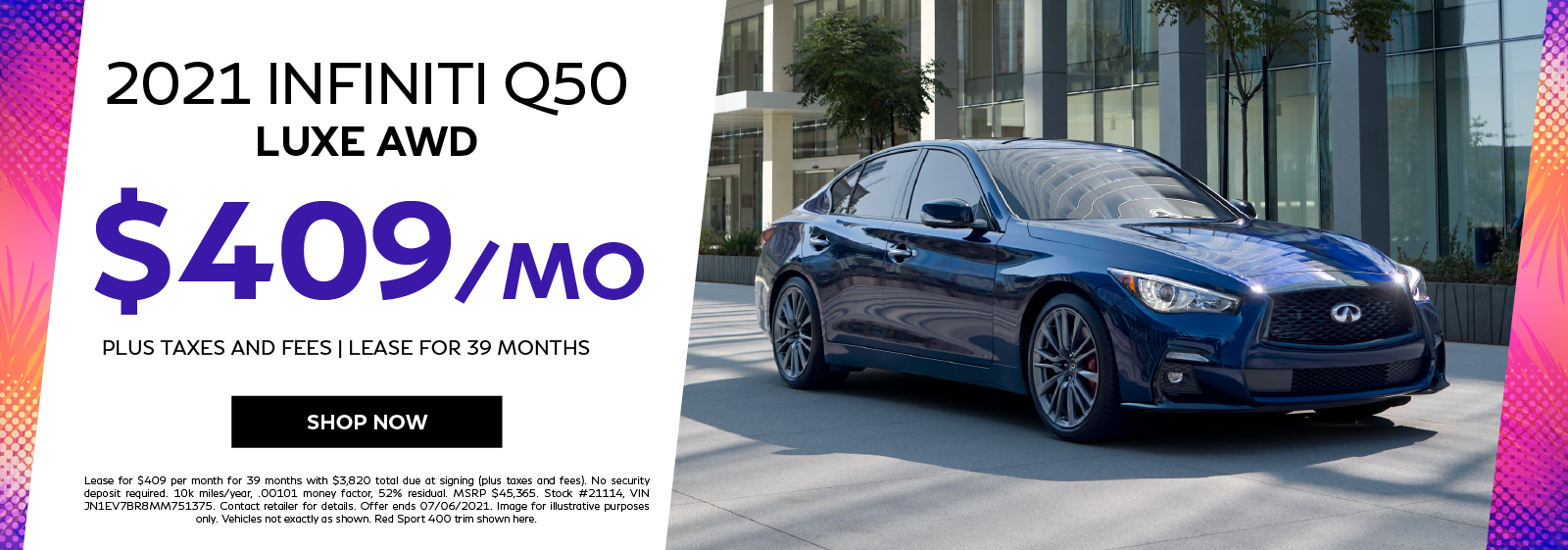 2021 INFINITI Q50 LUXE AWD Lease Offer. Click to shop now.