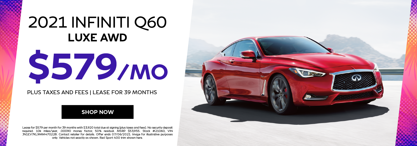 2021 INFINITI Q60 LUXE AWD Lease Offer. Click to shop now.