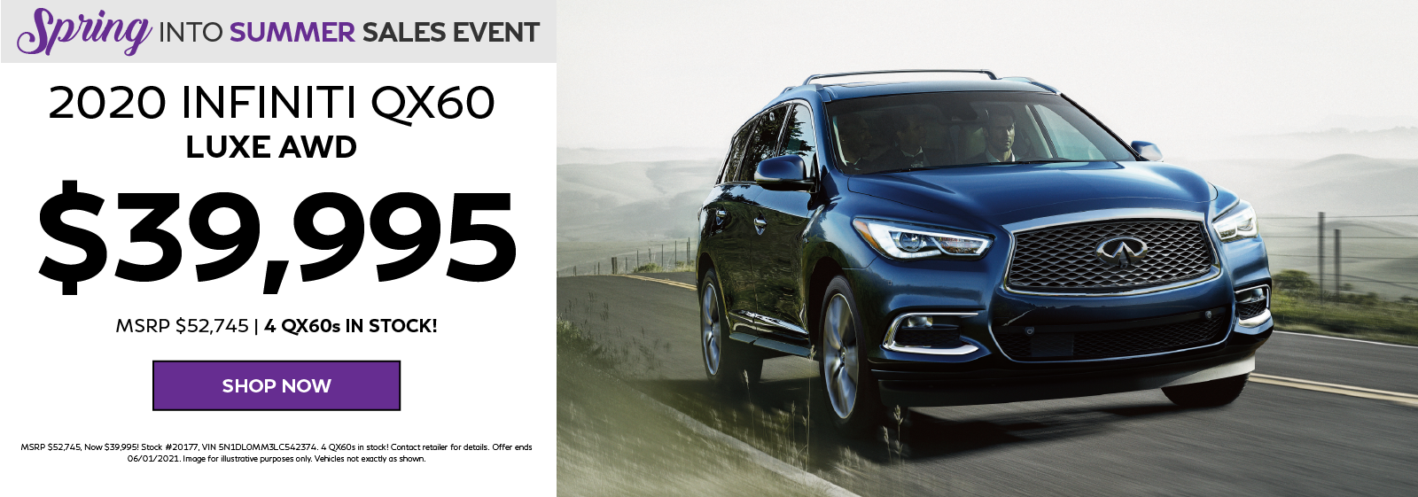 2020 INFINITI QX60 LUXE AWD Special Pricing Offer. Click to shop now.