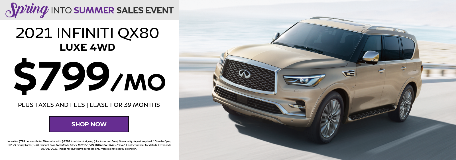 2021 INFINITI QX80 LUXE 4WD Lease Offer. Click to shop now.