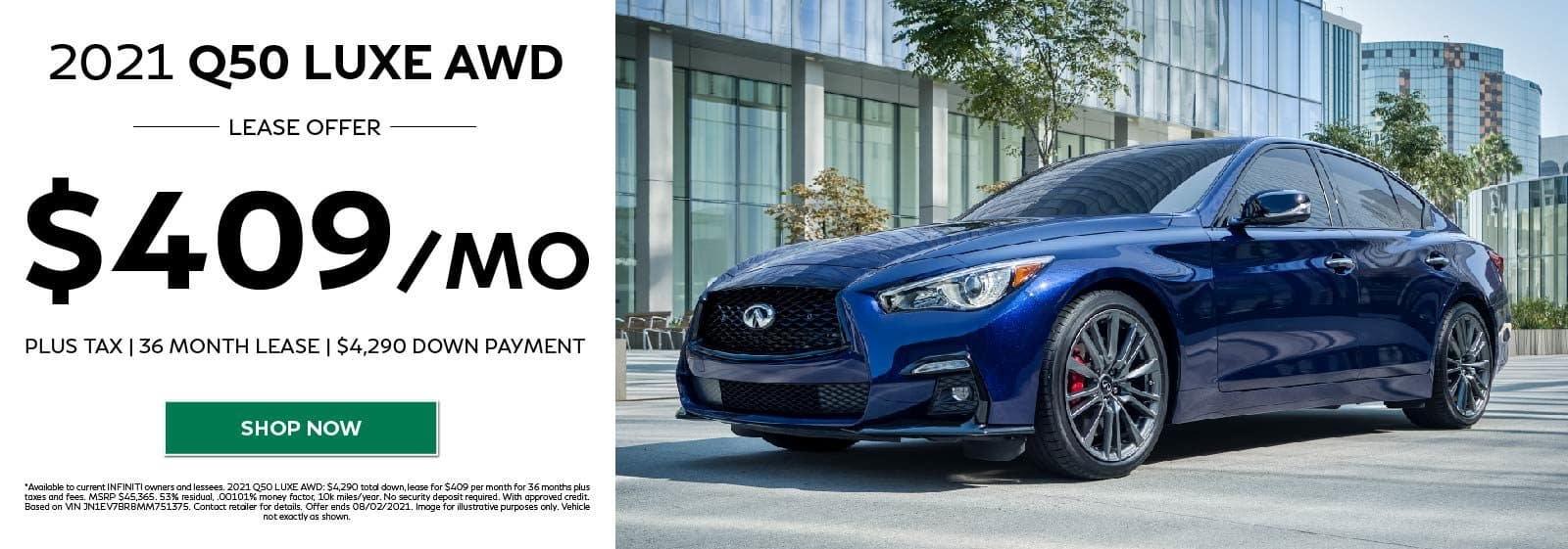 2021 Q50 LUXE AWD $409/MO FOR 36 MOS