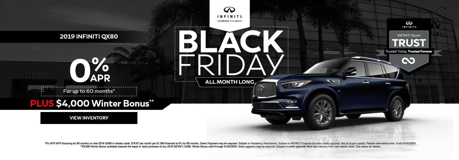 INFINITI Stuart QX80 Black Friday special