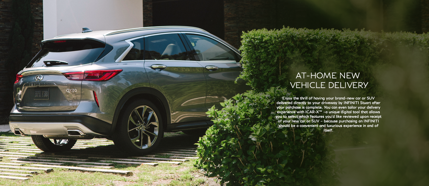 At home vehicle delivery. Enjoy the thrill of having your brand-new car or SUV delivered directly to your driveway after your purchase is complete.