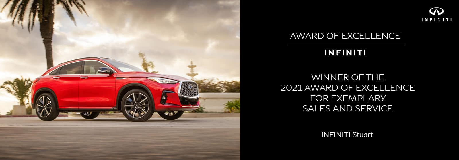 red new INFINITI Award of Excellence
