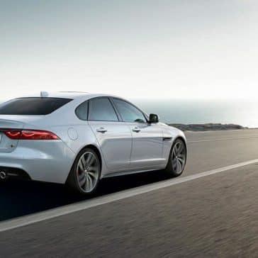 2019 jaguar xf luxury sedan side rear view