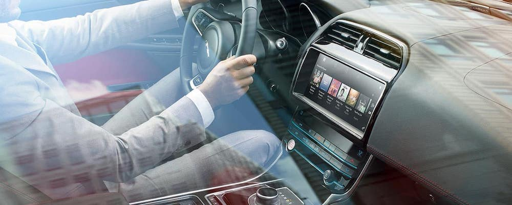 2019 jaguar xe interior with view of driver and dash