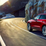2019 jaguar f-pace red driving
