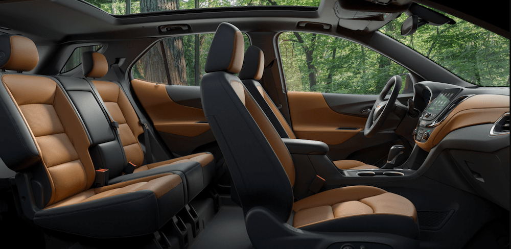 Leather seats inside a new 2020 Chevy Equinox