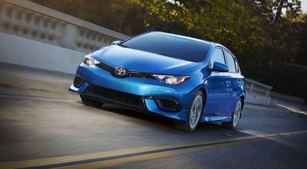 Blue 2018 Toyota Corolla on a test drive outside Cincinnati