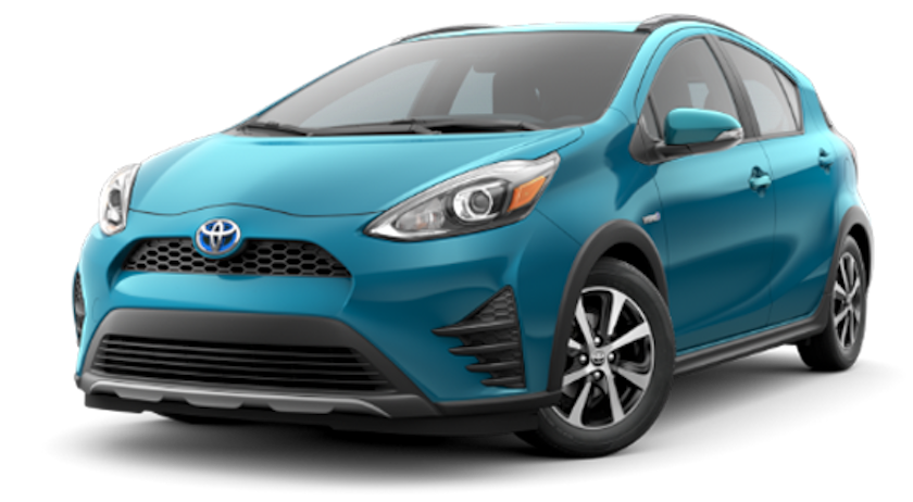 A bright teal 2019 Toyota Prius C from Joseph Toyota of Cincinnati Ohio