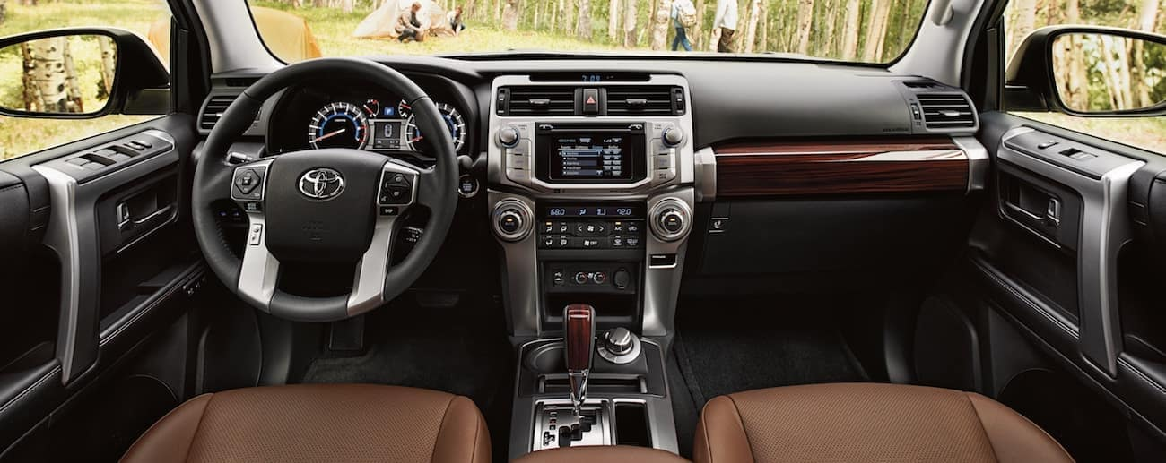 The high tech wood and leather interior of the 2019 Toyota 4Runner
