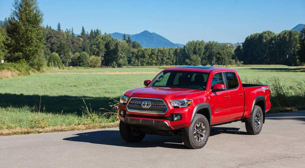 A red 2016 certified pre-owned Toyota Tacoma on a rural test drive
