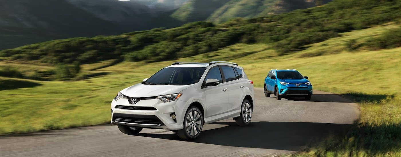 White and blue certified pre-owned Toyota Rav4 race down a mountain road