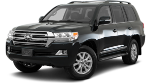 Black 2019 Toyota Land Cruiser on white